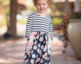 5f64dba7f8a9a Hartford Dress and Top PDF Sewing Pattern, including sizes 12 months - 14  years, Girls Pattern for Knit Fabrics