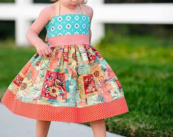 Elise Halter Dress PDF Sewing Pattern, including sizes 12 months-14 years, Girls Dress Pattern