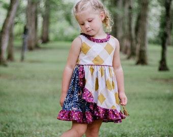 Maleny Dress PDF Sewing Pattern, including sizes 12 months - 14 years, Girls Dress Pattern