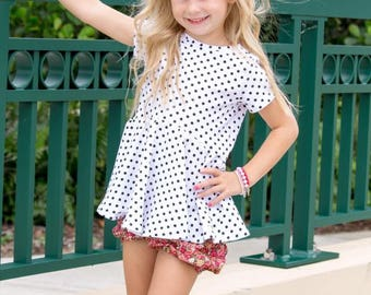 Magnolia Top and Dress PDF Sewing Pattern, including sizes 12 months-14 years, Girls Knit Dress Pattern