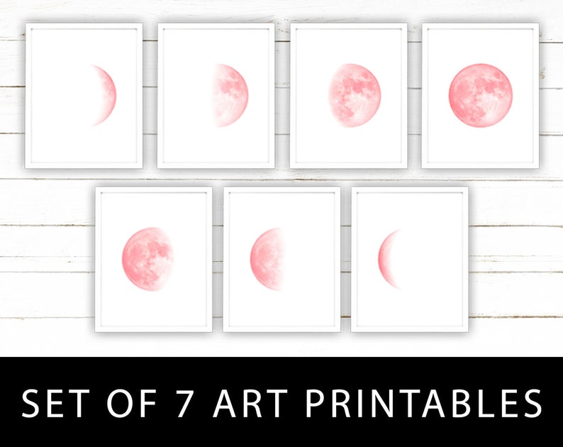 graphic about Moon Phase Printable known as Crimson Moon Action Artwork Printables Established of 7 Moon Levels Wall Artwork Instantaneous Down load of Lunar Stages