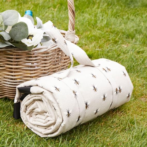 Grande coperta da picnic impermeabile sostenuta in cotone stampa ape