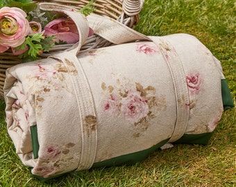 Waterproof backed picnic blanket in antique rose print cotton