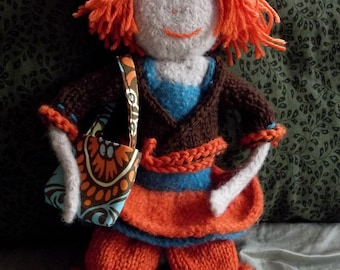 """16"""" Hand-Knitted   Felted Folk Doll"""