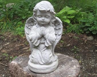 "Antiqued Gray White Cement 10 1//2/"" Kneeling Angel Garden Art Concrete Statue"