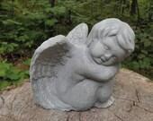 5 quot Cement Antiqued Gray White Angel Cherub Sleeping Sitting Garden Art Concrete Statue