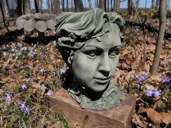 10 Tall Classic Girl Woman Head Planter Garden Art Etsy