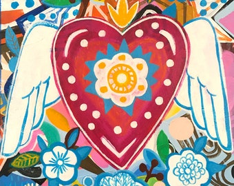 Paradise   Fine Art Print, Heart, Mexican Heart,corazon,bohemian, Folk,  Funky, Naive, Primitive.