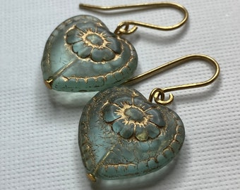Translucent Green Heart with Embossed Gold Flower Drop Earrings
