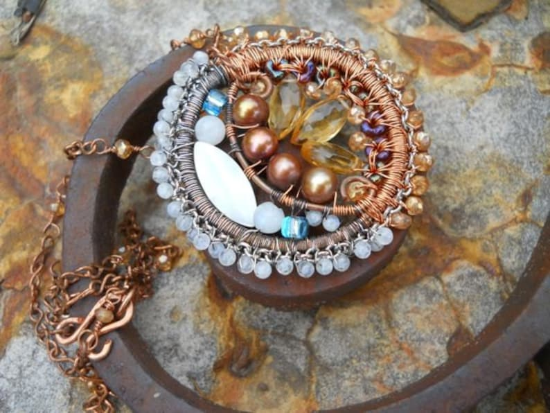 Gemstone Sun and Moon Pendant with Beaded Chain
