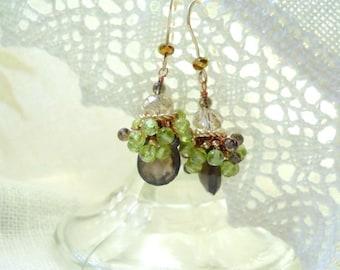 Smokey Quartz and Peridot Gemstone Cluster Earrings