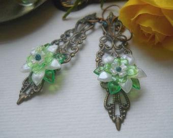 White and Green Spring Flower Brass Filigree Earrings