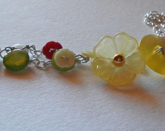 Spring Flowers Vintage Button Bracelet