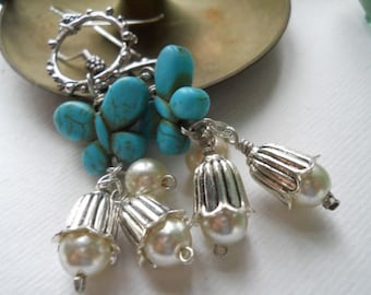 Turquoise Butterfly and Pearl Flower Earrings