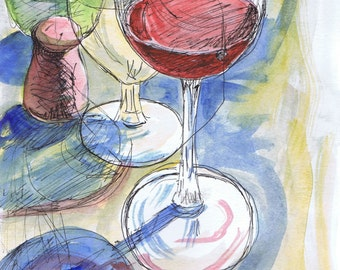 Still life of a glass of wine by the eastern shore