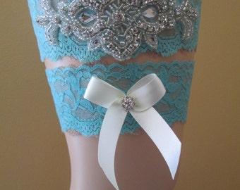 Rustic Garter Something Blue Teal and Coral Garters Country Bride Coral /& Aqua Blue Wedding Garter Set Ivory Lace Garter