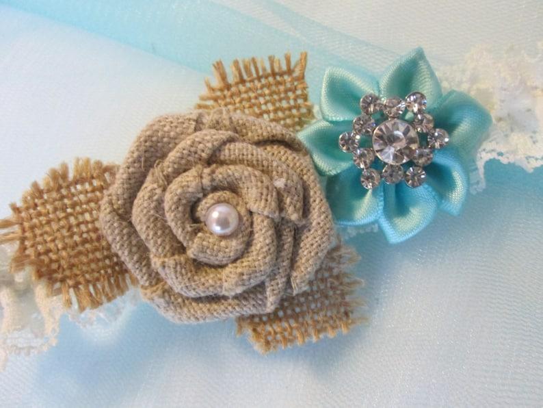 Aqua Blue Wedding Garter Set Burlap Rustic Garter Vintage Style Shabby Ivory Lace Garter Country Light Teal  Turquoise Garters