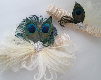 Peacock Wedding Garter Set, Ivory Sheer Organza Garters, Vintage Style, Art Deco, Great Gatsby, Flapper Bridal Garter with Feathers