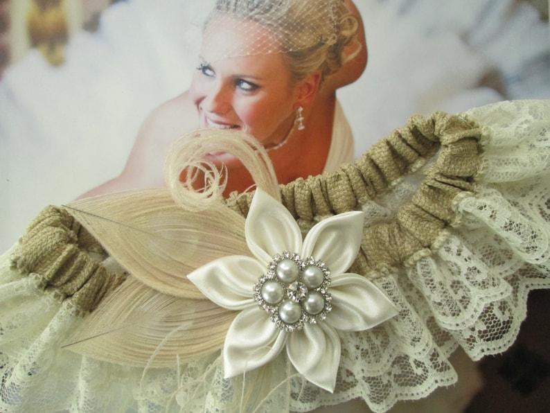 Peacock Bridal Garter BURLAP Wedding Garter Set Gatsby- Rustic- Vintage- Country Bride Ivory Lace Garters