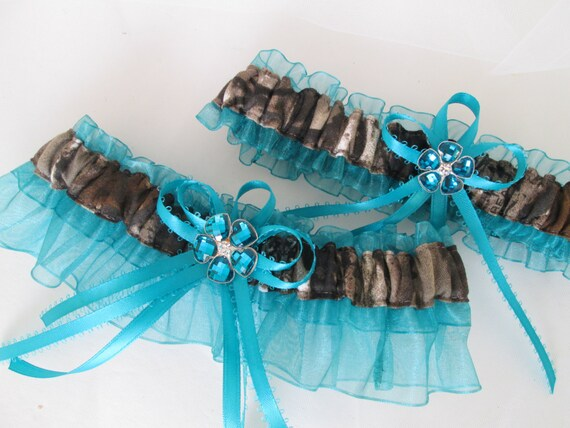 Camouflage Camo  Wedding Bridal  Bride Lace trim Garters Set RegularPlus Size Mossy oak or Realtree