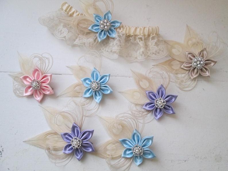 Something Blue Garter Lilac- Pink for Bridesmaids Champagne Peacock Fascinator for Bride Blue Pastel Hair Clip Gift Set Flower Girl