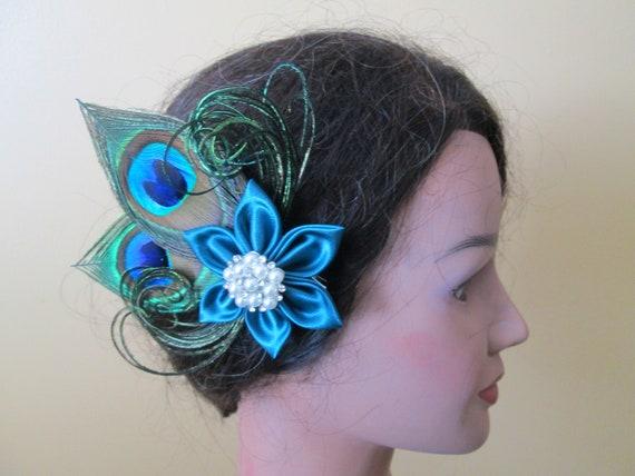 Dark Teal Bridal Head Piece Peacock Fascinator Teal Wedding Hair Flower Clip Bridesmaid or Prom Hair Flower Country Rustic Hair Piece