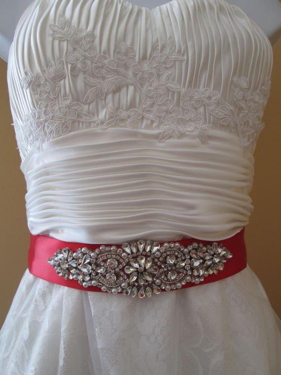 Red Valentine\'s Day Bridal Sash Red Satin Sash Belt True | Etsy