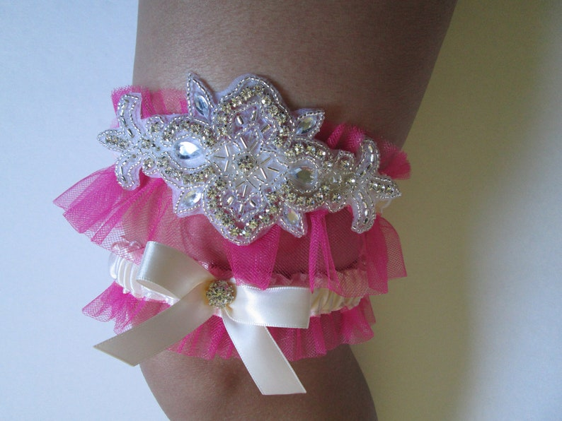 Ivory with Hot Pink Wedding Garter