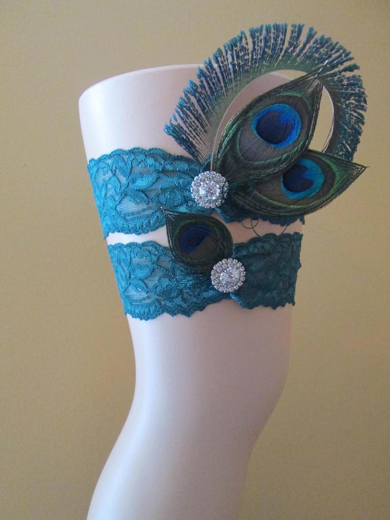 Teal Lace Bridal Garters with Bling Something Blue Garter PEACOCK Wedding Garter Set Rhinestones Rustic- Country- Vintage Bride