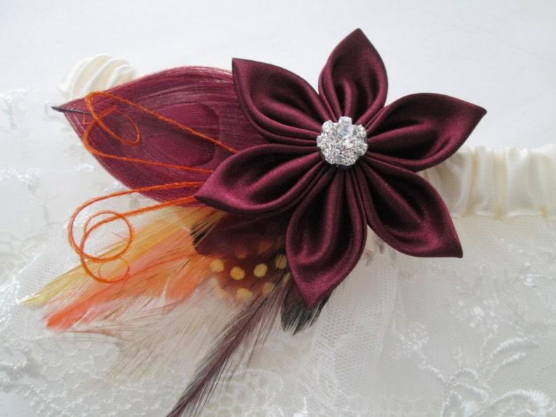 Autumn- Fall- Harvest Weddings Peacock Garter Rustic Garter Set Burgundy- Maroon WEDDING Garter Set Burlap /& Ivory Lace Garters
