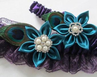 Teal & Ultra Violet Purple Wedding Garter Set, Regency Purple Peacock Garter, Plum Purple Lace Bridal Garter, Oasis Teal Flower