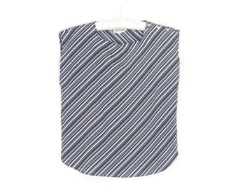 vintage 80s blouse * nautical stripes blouse * tank top * sleeveless shirt * large