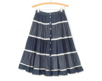 dc919adf724 70s prairie skirt   vintage ruffle skirt   full circle skirt   indigo denim  skirt   xs