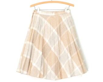 70s skirt * vintage 1970s skirt * plaid skirt * wool skirt * full skirt * small