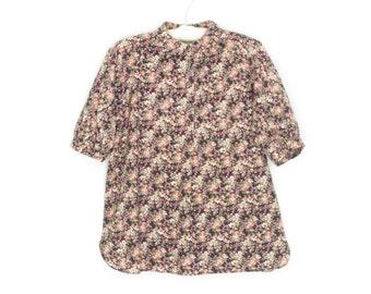 vintage floral blouse * 70s smock shirt * 1970s blouse * medium