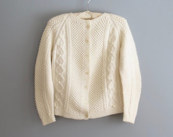 cable knit sweater * vintage cardigan sweater * fishermans sweater * white cardigan * small