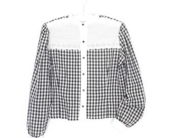 gingham blouse * eyelet lace yoke * embroidered blouse * checkered shirt * large