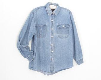 vintage denim shirt * 80s Jean Shirt * distressed denim blouse * medium