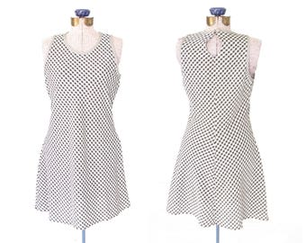 90s mini dress * vintage 90s dress * gingham dress * black and white checkered dress * xs / small