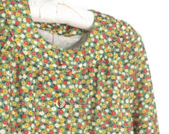 vintage 60s blouse * floral top * 1960s shirt * 60s shirt * medium