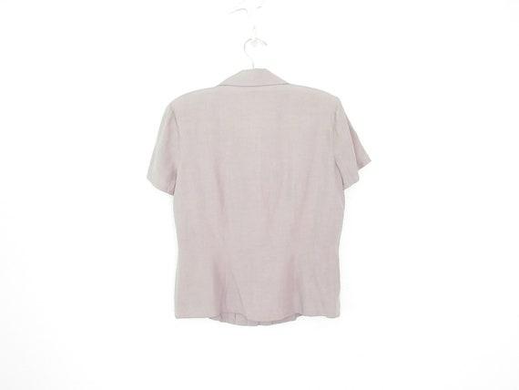 silk pocket blouse * vintage silk shirt * gray li… - image 5