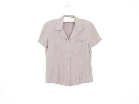 silk pocket blouse * vintage silk shirt * gray li… - image 1