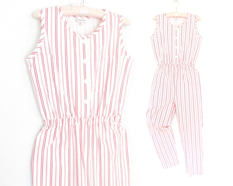 6bf6191c2ec8 Vintage jumpsuit striped jumpsuit 80s jumpsuit one piece