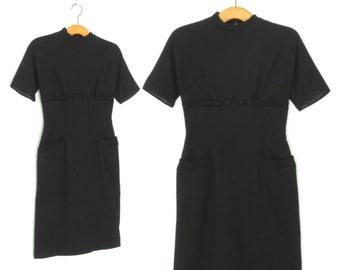 60s dress * vintage 1960s dress * black dress * wool knit dress * wiggle dress * xxs