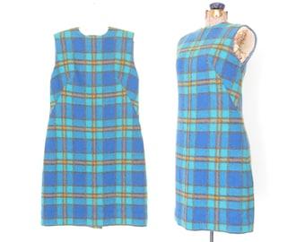 60s dress * vintage 1960s dress * sheath dress * plaid dress * mohair wool dress * wiggle dress * xs / small