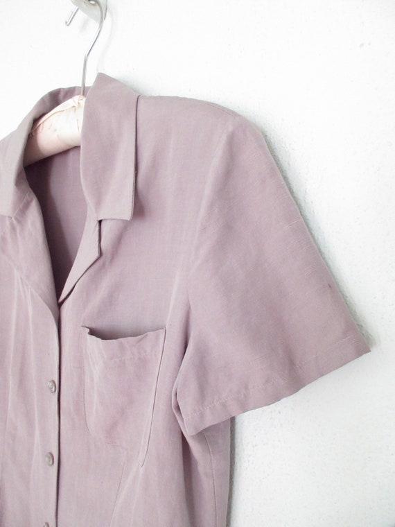 silk pocket blouse * vintage silk shirt * gray li… - image 4