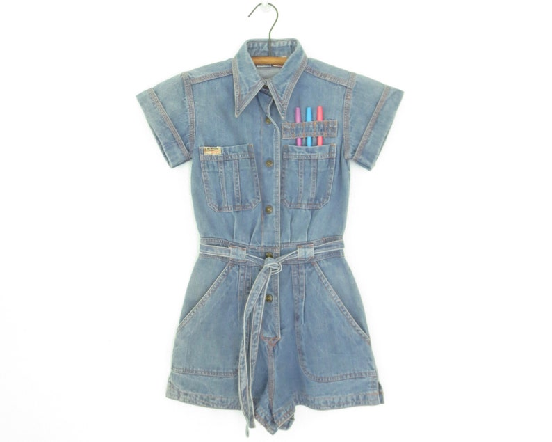 796c9615611 Vintage girls romper denim romper 70s jean shorts playsuit