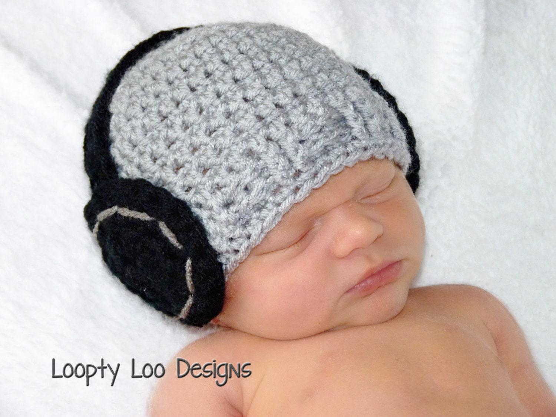 Headphone Hat Crochet Hat Newborn Photo Prop Baby Boy Baby Etsy