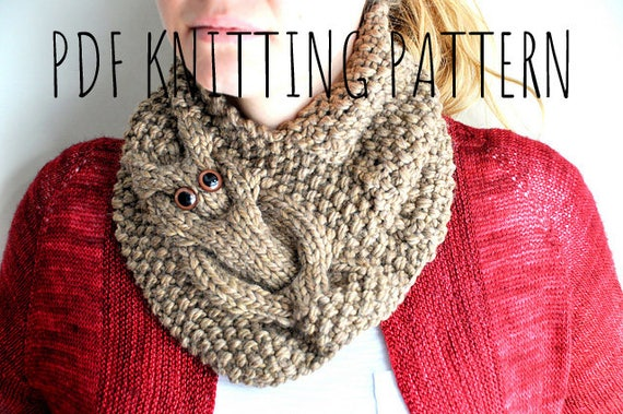 Owl Cowl Knitting Pattern Etsy