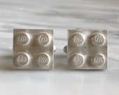 Sterling Silver Lego Brick Cufflinks, Gifts for Nerds, Gifts for Geeks, Geeky Gifts, Gift for Groom, Grooms Gifts, Building Block Cuff links